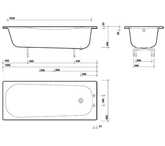 Technical drawing QS-V43328 / NE9590WH