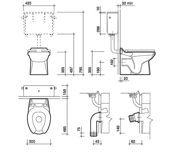 Technical drawing QS-V43350 / SA1512WH