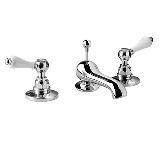 Imperial Crown Lever 3 Hole Basin Mixer Tap With Pop-Up Waste