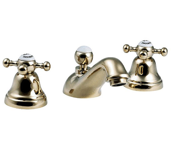 Westminster Antique Gold Finish 3 Hole Basin Mixer Tap Image