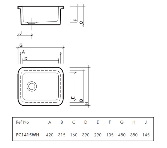 Technical drawing QS-V45374 / FC1415WH