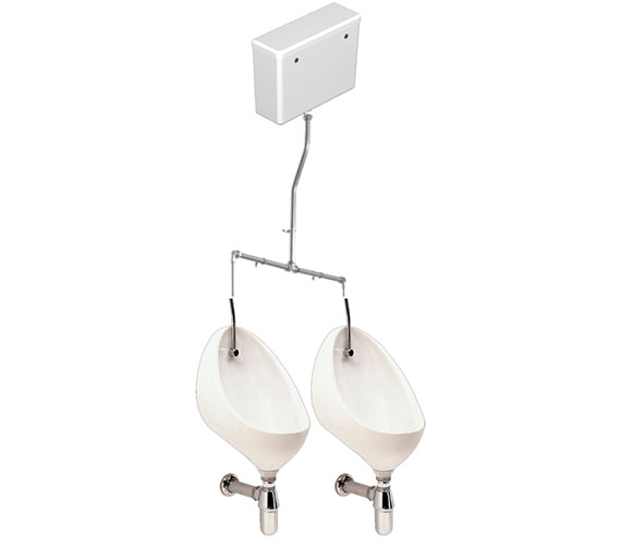 Twyford Clifton 2 Urinal Set With Exposed Flush Pipe And Cistern