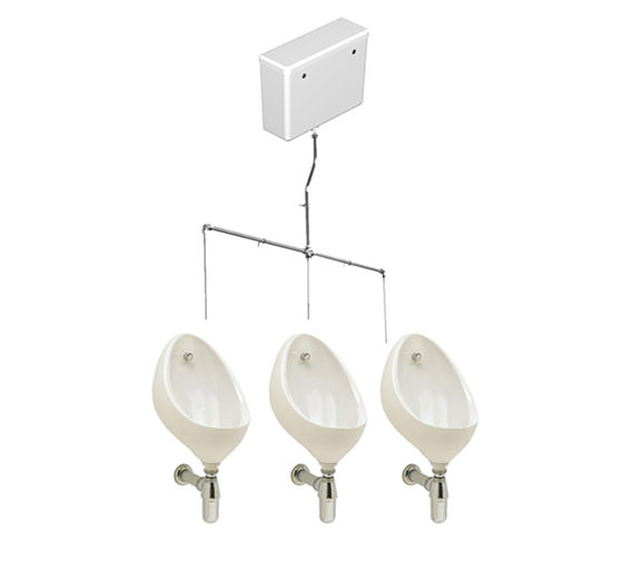 Twyford Clifton 3 Urinal Set With Concealed Flush Pipe And Cistern