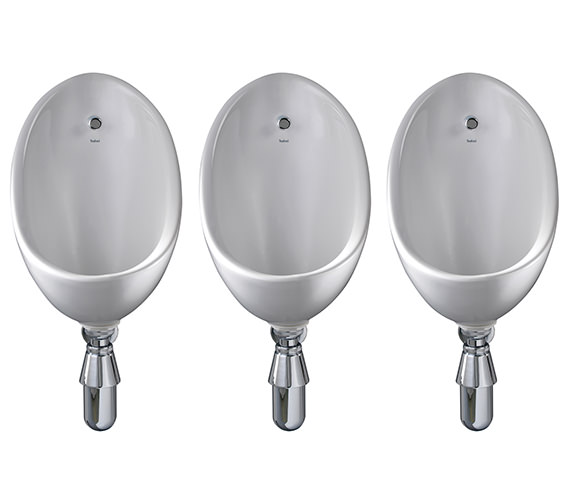 Alternate image of Twyford Clifton 3 Urinal Set With Concealed Flush Pipe And Cistern