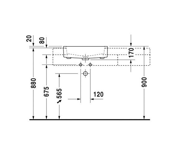 Additional image of Duravit Vero 550 x 470mm Semi Recessed Basin