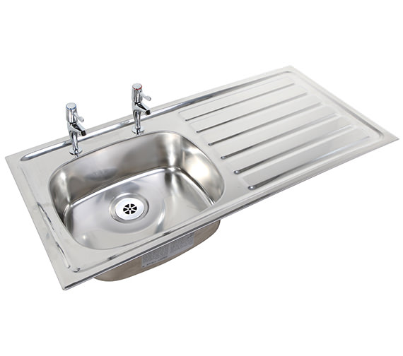 Twyford SS Stainless Steel 1028 x 500mm 2 Tap Hole Inset Sink And Drainer