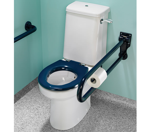 Alternate image of Twyford Doc.M Rimless Super CC WC Pack With Blue Grab Rails And Seat
