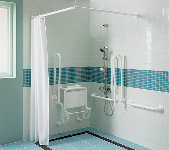 Alternate image of Twyford Doc.M Shower Pack With White Grab Rails And Seat