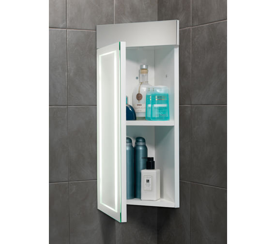 Alternate image of HIB Minnesota LED Back-Lit Illuminated Corner Cabinet 300 x 630mm
