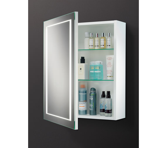 HIB Austin Single Door LED Back-Lit Illuminated Cabinet 500 x 630mm