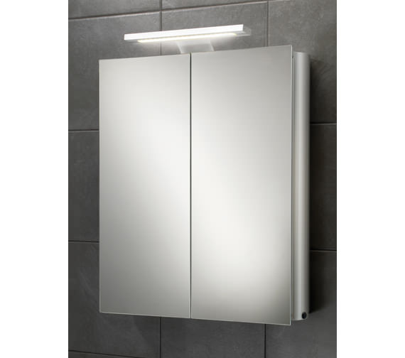 HIB Atomic Double Door Aluminium Mirrored Cabinet With LED Over-light