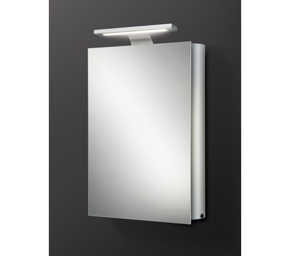 HIB Electron Single Door Aluminium Mirrored Cabinet With LED Over-light