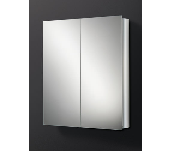 HIB Quantum Double Door Aluminium Mirrored Cabinet 600 x 700mm