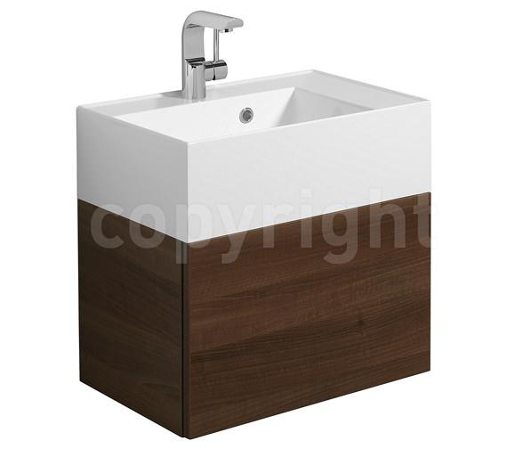 Bauhaus Elite Walnut Wall Hung Single Drawer Basin Unit 500mm