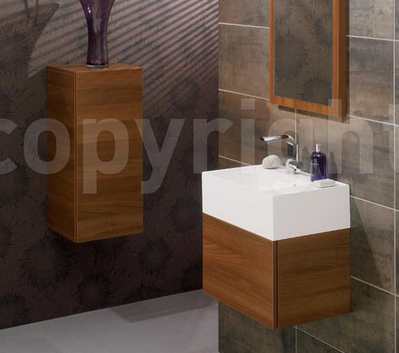 Additional image of Bauhaus Elite Walnut Wall Hung Single Drawer Basin Unit 500mm