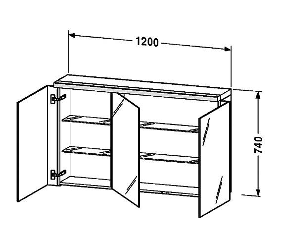 Duravit Fogo 1200mm 3 Door Mirror Cabinet Fo967801818