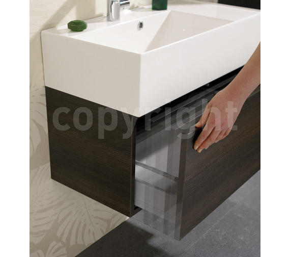 Additional image of Bauhaus Elite 1000mm Single Drawer Steel Wall Hung Basin Unit
