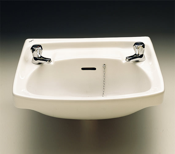 Additional image of Twyford Classic 560 x 415mm 2 Tap Hole Washbasin - CC4212WH