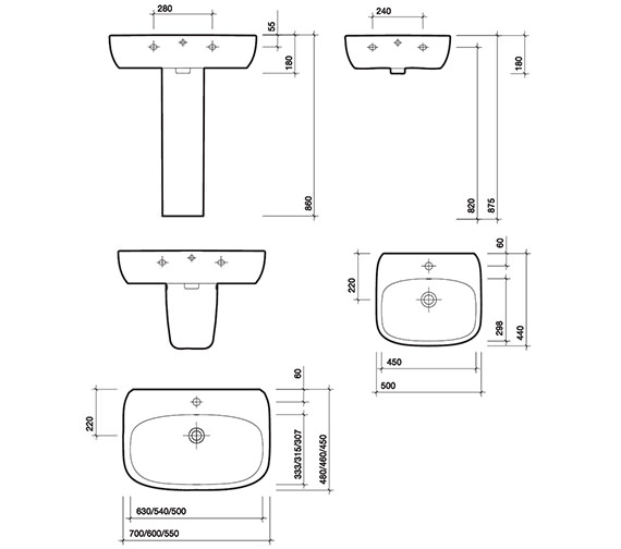 Image 2 of Twyford Moda 1 Centre Tap Hole Washbasin 550 x 450mm - MD4231WH