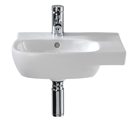 Twyford Moda Offset Basin With Right Hand Shelf Space 450 x 350mm