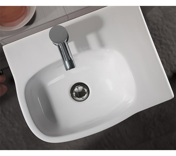 Additional image of Twyford Moda Offset Basin With Right Hand Shelf Space 450 x 350mm