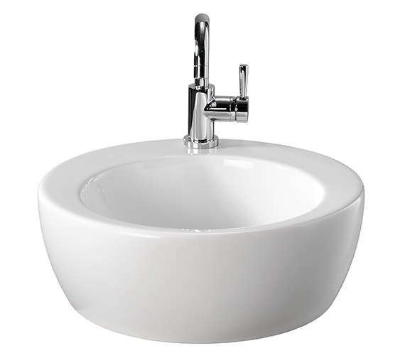Twyford Visit 1 Tap Hole Lay On Round Basin 450 x 450mm -GT4711WH