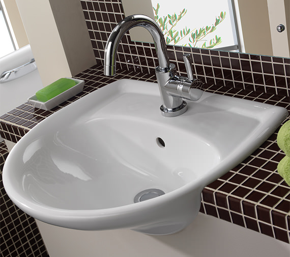 Additional image of Twyford Galerie 1 Tap Hole Semi Recessed Basin 500 x 425mm