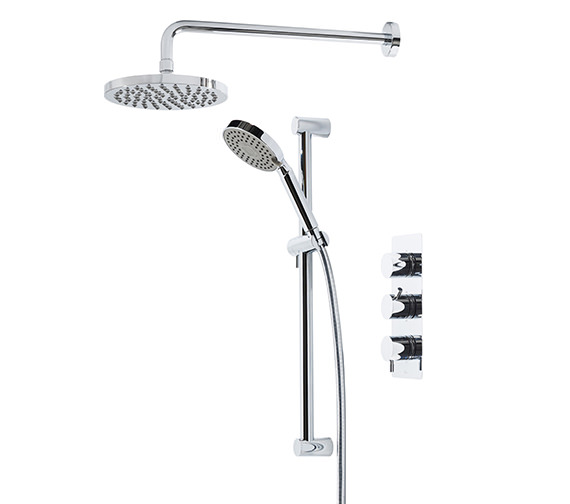 Kinetic Triple Inline Thermostatic Shower Valve With Head And Handset