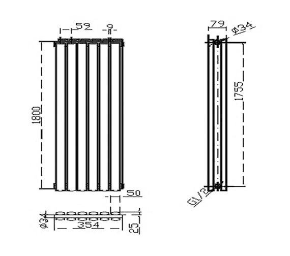 Technical drawing QS-V50375 / HLB77