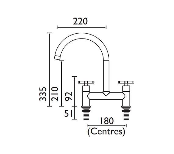 Additional image of Bristan Design Utility Kitchen Deck Lever Handles Sink Mixer Tap - DUL DSM C