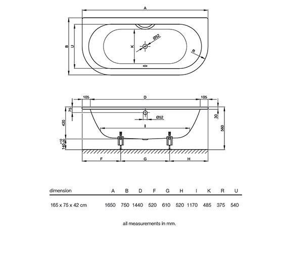 Technical drawing QS-V52718 / BETTE8300