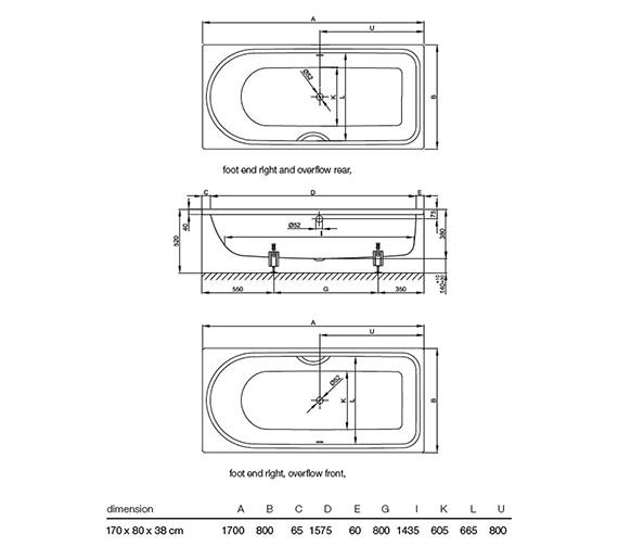 Bette Ocean Low Line 1700 X 800mm Steel Bath With Front