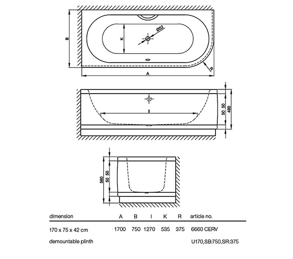 Technical drawing QS-V52733 / 6660 CERVK