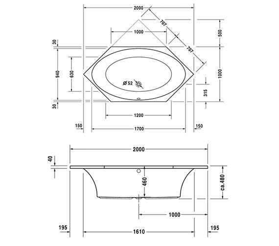 duravit 2x3 hexagonal 2000 x 1000mm bath with frame