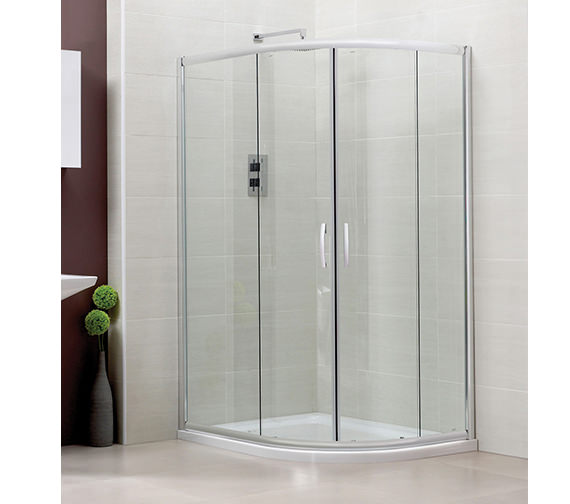 April Identiti2 Double Door Offset Shower Quadrant 1000 x 800mm Silver Image