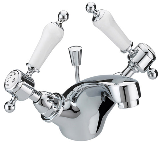 Heritage Glastonbury Chrome 1 Taphole Basin Mixer Tap With White Levers