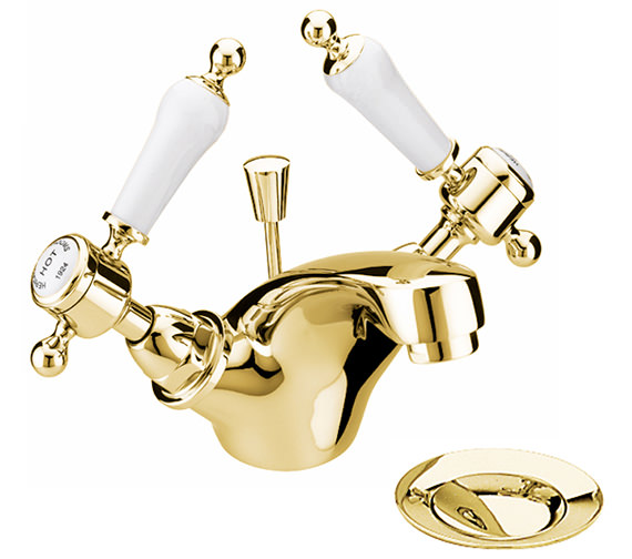 Heritage Glastonbury Vintage Gold 1TH Basin Mixer Tap With White Levers