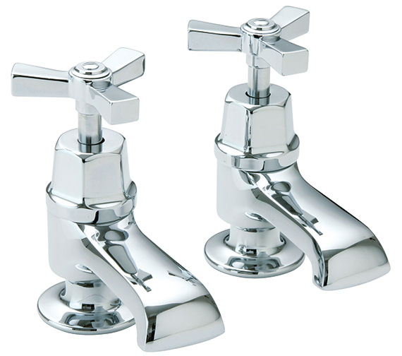 Heritage Gracechurch Bath Pillar Taps With Chrome Handles