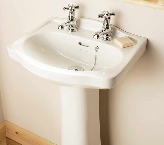 Additional image of Heritage Rhyland 463 x 370mm 1 Or 2 Taphole Cloakroom Basin
