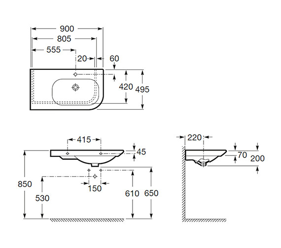 Technical drawing QS-V55570 / 327649000