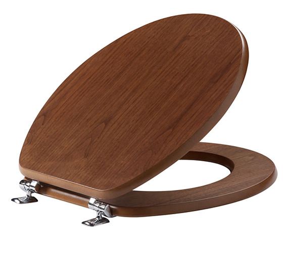 Tavistock Millennium Toilet Seat With Chrome Hinges Walnut - O142M