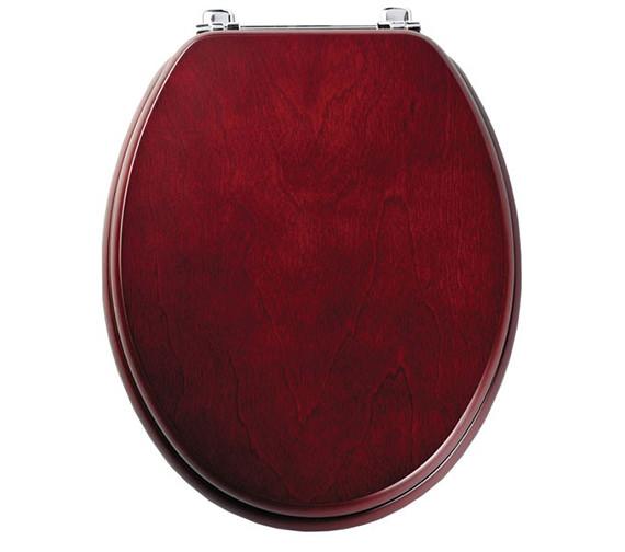 Tavistock Premier Toilet Seat With Chrome Hinges Mahogany - O202