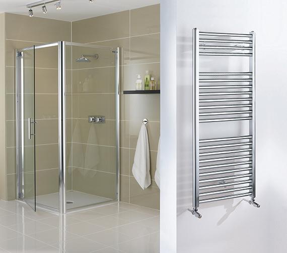 Alternate image of Essential Straight White Ladder Towel Warmer 500 x 690mm - 148204