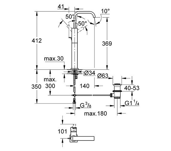 Technical drawing QS-V57744 / 32249000