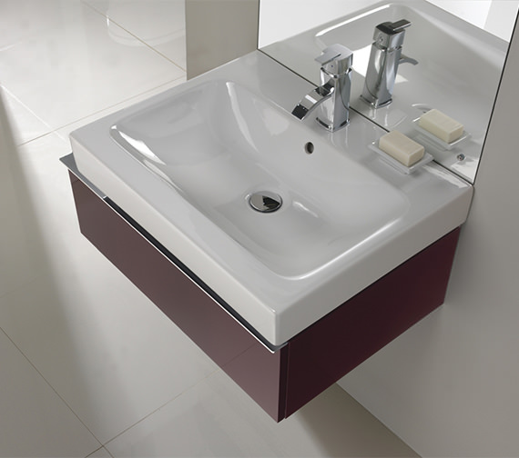 Additional image of Twyford 3D Washbasin And Plum Vanity Unit 1 Drawer 600mm