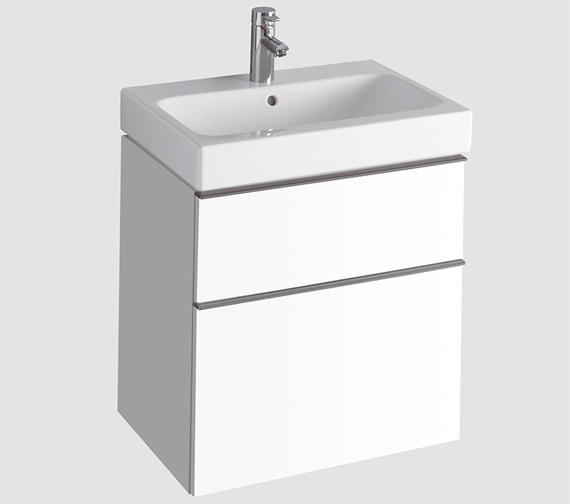 Twyford 3D 600mm Basin And Alpine White 2 Drawer Vanity Unit