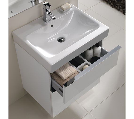 Additional image of Twyford 3D 600mm Basin And Alpine White 2 Drawer Vanity Unit
