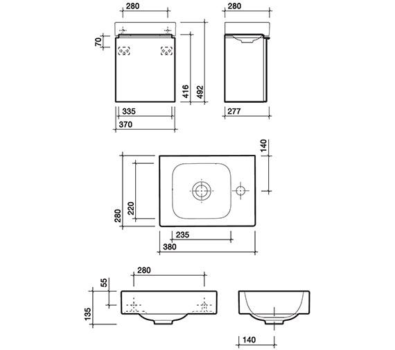 Technical drawing QS-V58009 / 3D4811WH