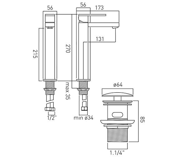Technical drawing QS-V58604 / NOT-100E/CC-C/P