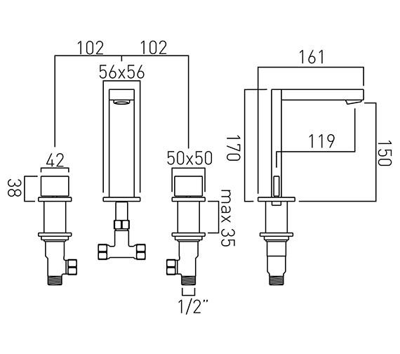 Technical drawing QS-V58611 / NOT-101-C/P